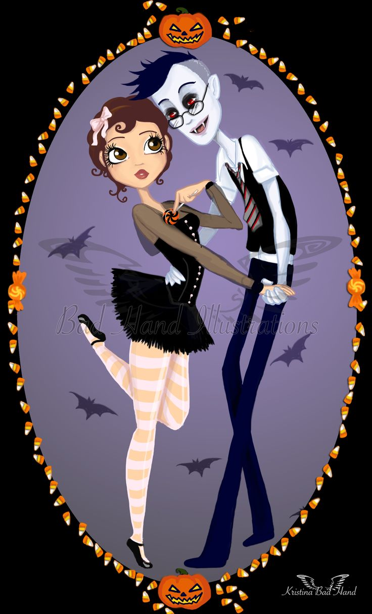 www.badhandillustrations.com Hannah and Orson from Scary Godmother