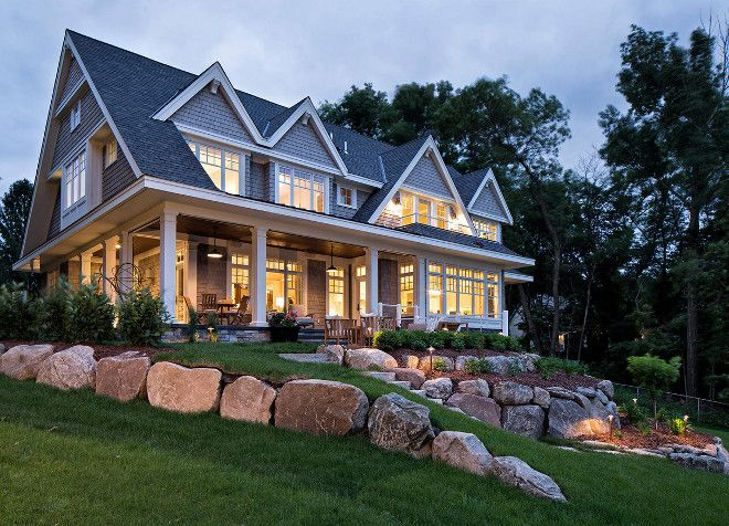 Sloped backyard landscaping ideas. Stones on sloped backyard. sloped-backyard-landscaping-hendel-homes-vivid-interior-design-danielle-loven