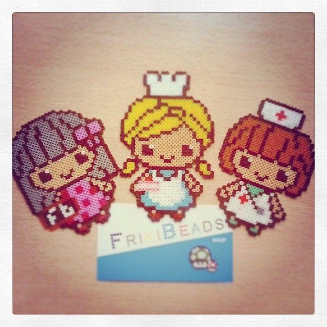 Teacher, chef and nurse hama bead broochs by frikibeads