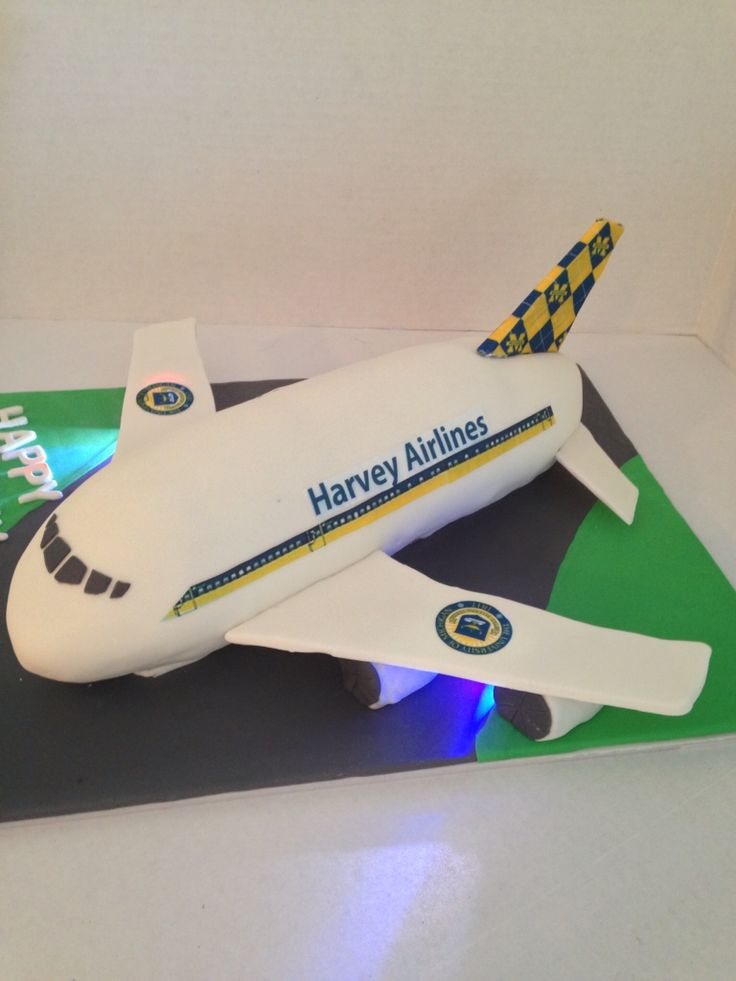 A personalized airline birthday cake was a huge hit. The plane looked like it is ready to taxi down the runway with the taxi lights flashing. The young man likes air planes and the University of Michigan. So, I incorporated both in his cake. The decals on the wings is the University of Michigan crest and the fin is their symbols . I used small LED flashing lights under the wings. The cake is a classic vanilla/almond cake filled with a vanilla/almond buttercream. I used a jellyroll pan to…