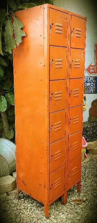 ORANGE VINTAGE LOCKERS.  Would love these in my laundry room, kitchen, bathroom, office!