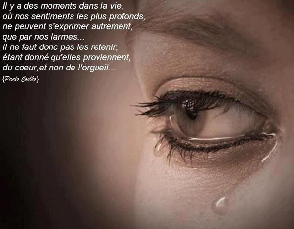 Il y a des moments dans la vie où nos sentiments les plus profonds ne peuvent s'exprimer autrement que par nos larmes ... Il ne faut donc pas les retenir, étant donné qu'elles proviennent du coeur et non de l'orgueil ... Paul Coehlo