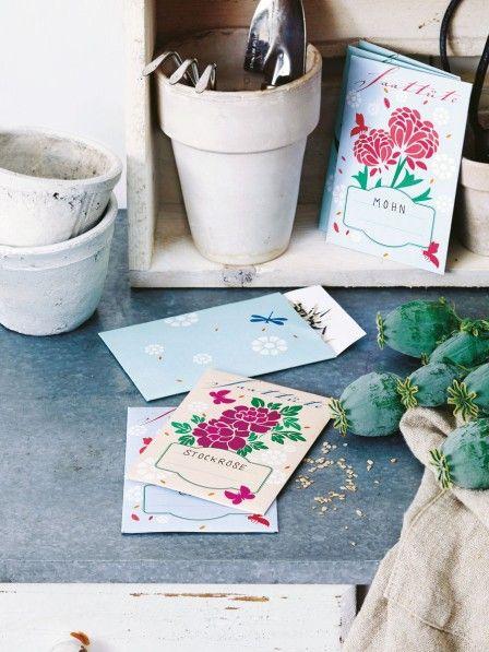 In diesen nostalgischen Saattütchen könnt Ihr Blumensamen perfekt aufbewahren oder verschenken.