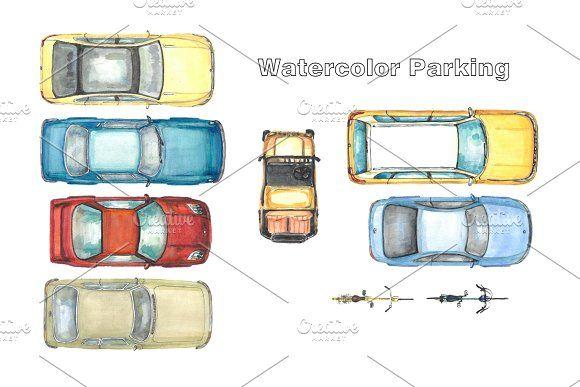 Watercolor Parking Car Top View Retro Cars Custom Car Accessories