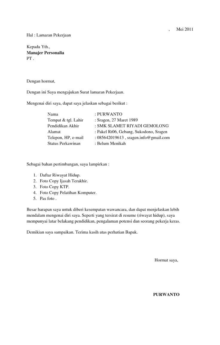 Surat Lamaran Kerja Yang Singkat  ben jobs  Contoh Lamaran Kerja dan CV  Pinterest  Simple