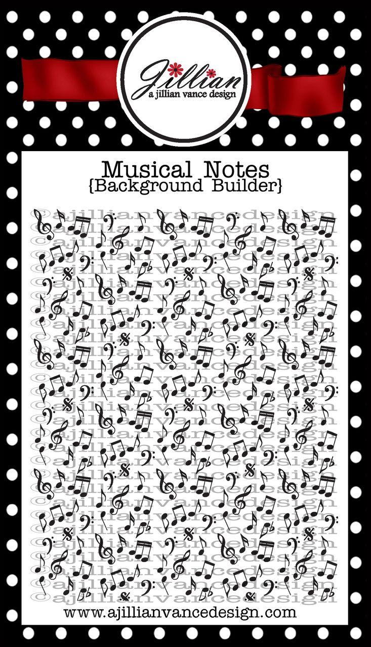 A Jillian Vance Design - Musical Notes Background Builder Stamp, $16.95 (http://stores.ajillianvancedesign.com/musical-notes-background-builder-stamp/)  #music #cardmaking #AJVD #musicnotes #background #redrubberclingstamp