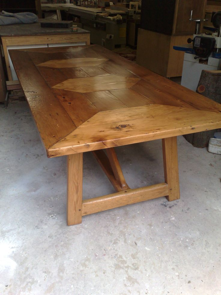 Oregan timber Dining table made to order with classic parquetry top another wonderful farmhouse style dining table.