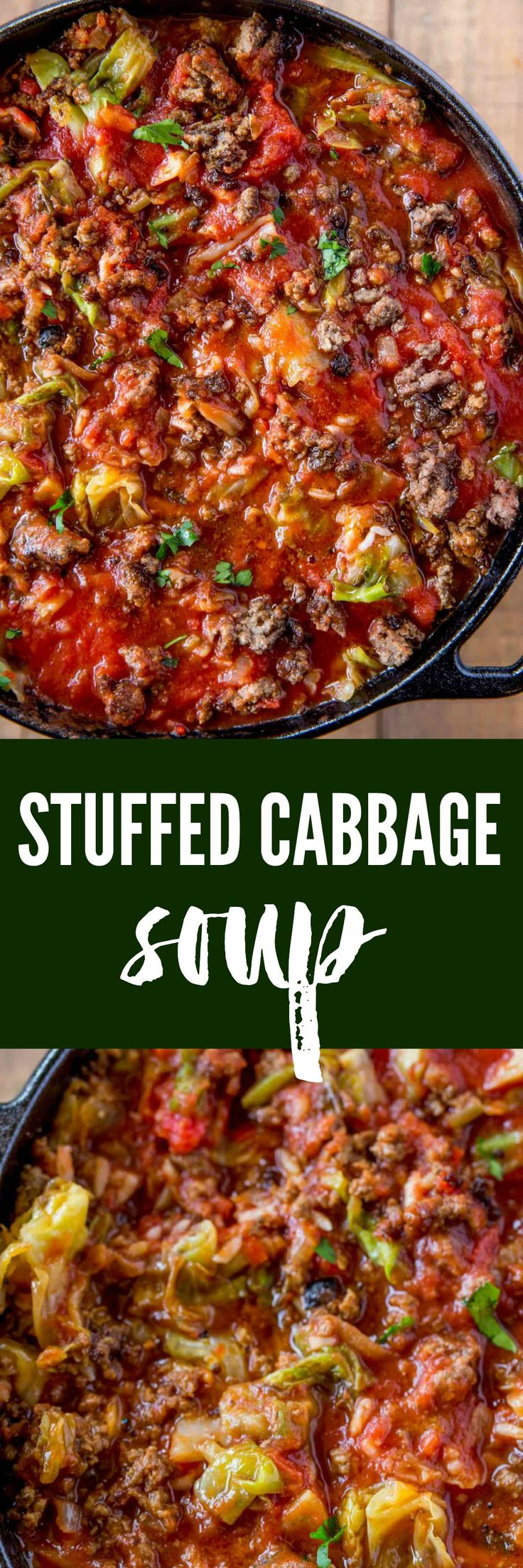 Stuffed Cabbage Soup made with ground beef, rice, cabbage and fresh tomato sauce on your stovetop in just thirty minutes.