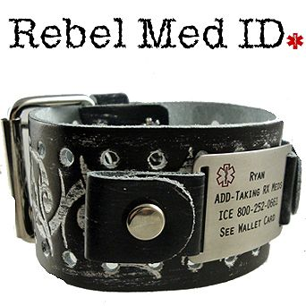 Medical ID Bracelets and jewelry custom engraved for men, women, children - Item# RTHR - Tribal Thorn Leather Medical Band - Black