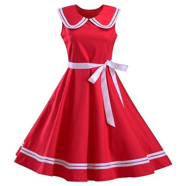 Sailor Collar Sleeveless Skater Dress ($21) ❤ liked on Polyvore featuring dresses, red collar dress, sailor dresses, sailor collar dress, sleeveless dress and red skater dress