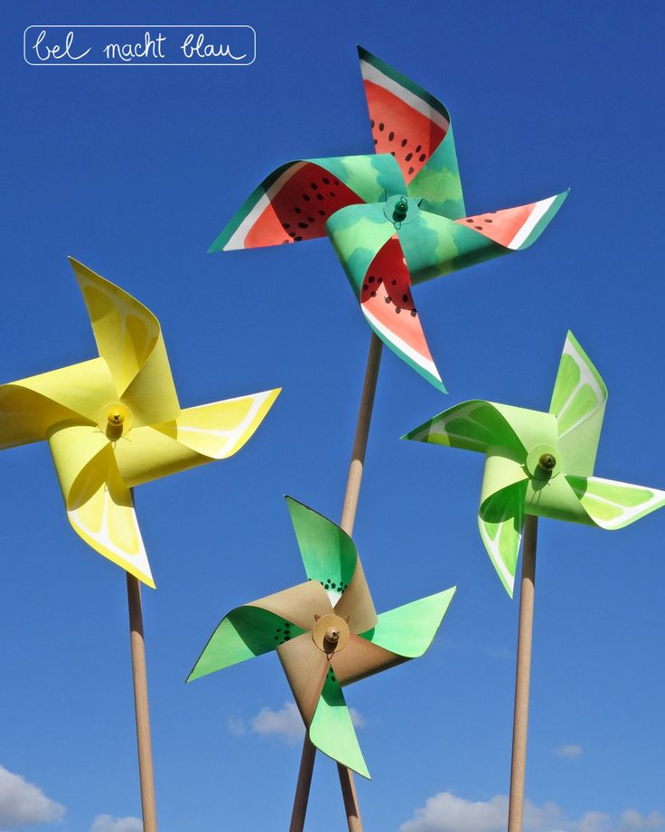 Sommerliche Windräder basteln: Wassermelone, Zitrone, Limette, Kiwi