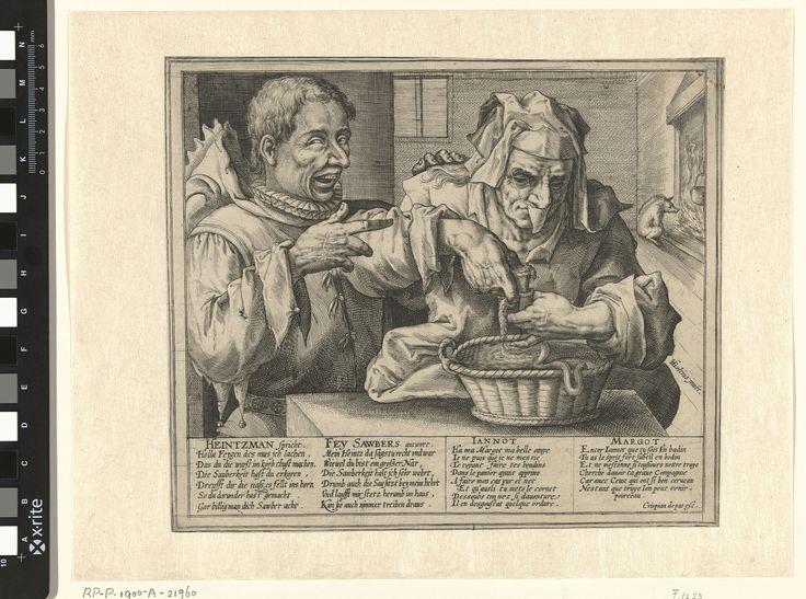 Crispijn van de Passe (I)   Satire op hygiëne, Crispijn van de Passe (I), 1574 - 1637   Interieur met een oude vrouw (Fey Sawbers/Margot) die worst maakt. Ze draagt uit hygiënisch oogpunt een kapje om haar neus. Een man (Heintzman/Jannot) met een zotskap wijst naar haar en lacht uitbundig om het feit dat ze met het kapje probeert te voorkomen dat er een druppel uit haar neus op de worst valt. Op de achtergrond een everzwijn dat zich aan een haardvuur warmt. In de marge een veertienregelig…