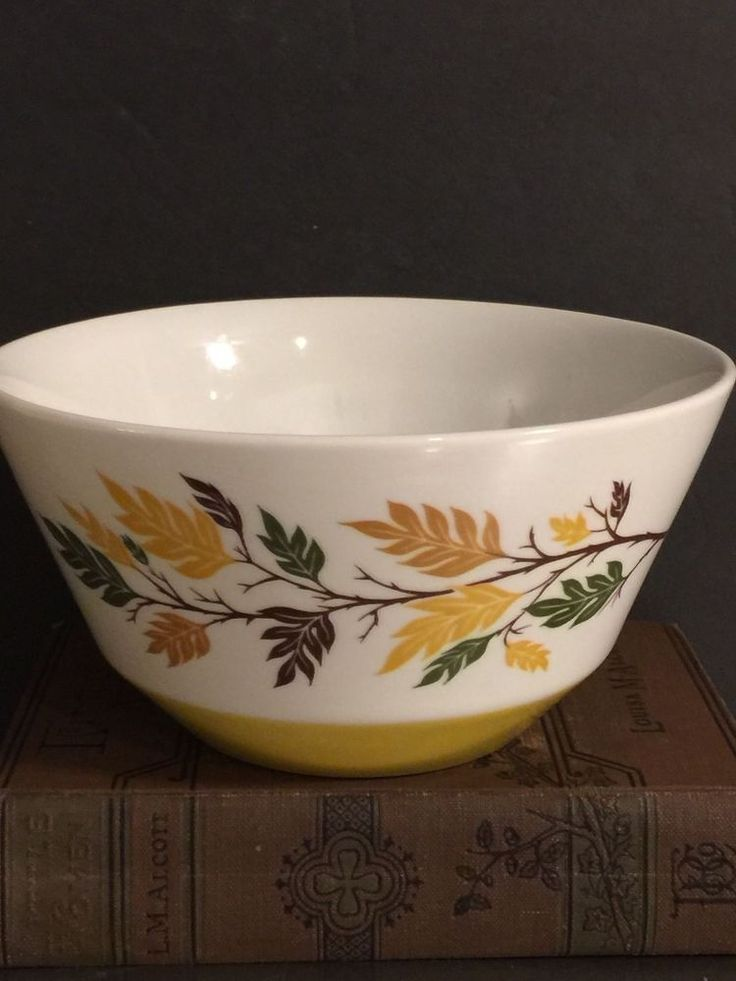Hall China Flare Ware Vintage Serving Bowl Autumn Leaves Made USA Fall Decor #HallChina #MidCentury