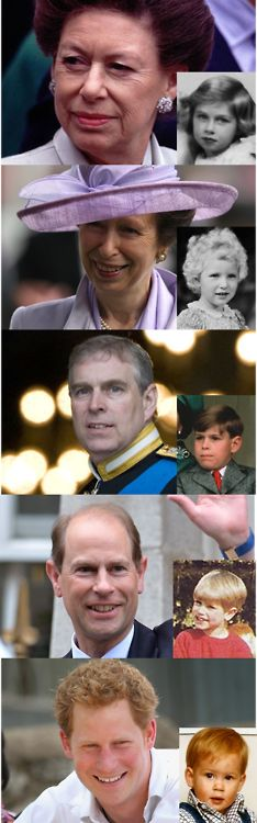 British Royal siblings (the spare heirs): Princess Margaret, The Princess Royal, Prince Andrew, Prince Edward and Prince Harry