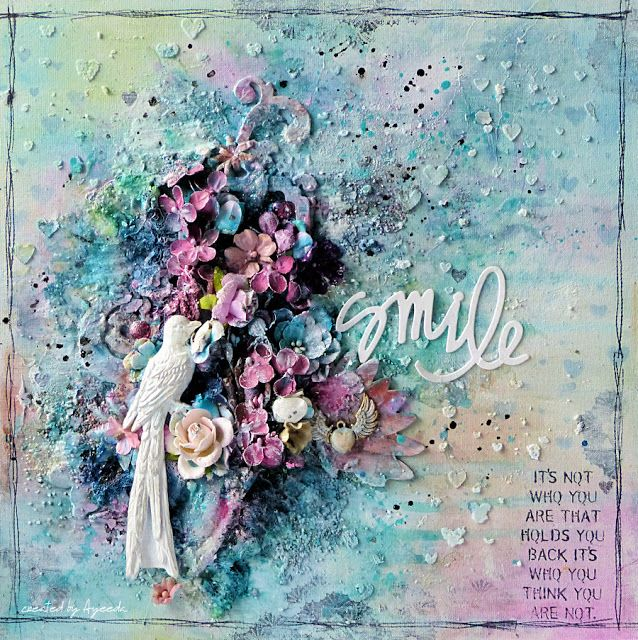 Mixed media canvas  with June Flying Unicorn KOM