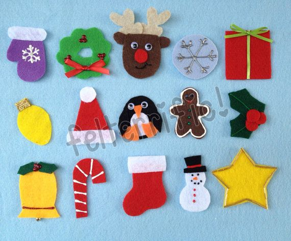 Set of 24 Handmade Advent Calendar Ornaments by felterrific