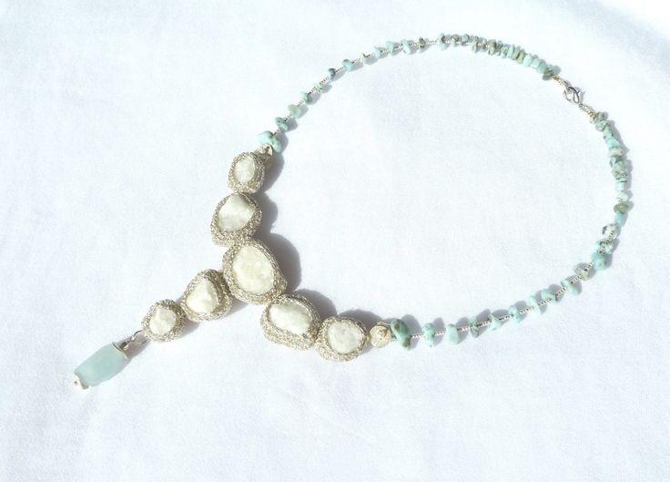 """Iceberg""  luxury necklace,  little pieces of broken marble, larimar chips, metalic beads, aquamarine semiprecious stone. FlorinArt creation"