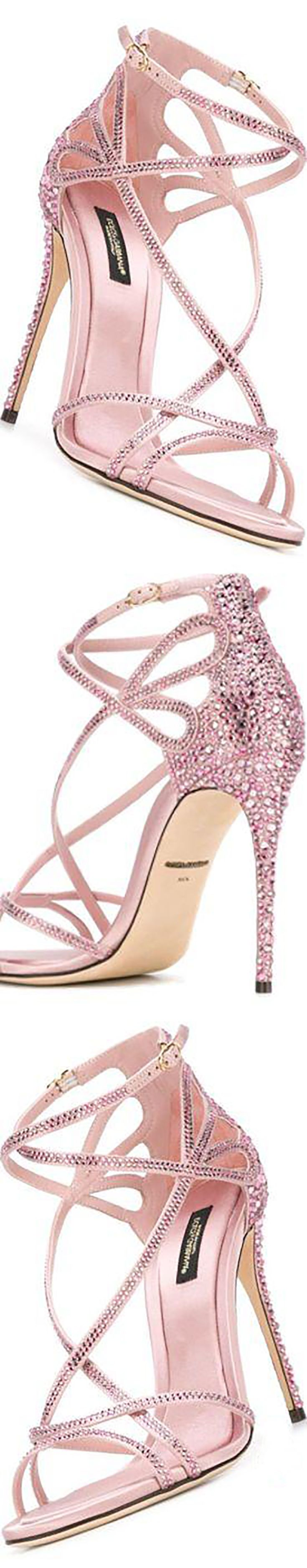 Dolce & Gabbana Keira sandals  These pink leather Keira sandals from Dolce & Gabbana feature an open toe, rhinestone embellishments, a brand embossed insole, a high stiletto heel and a side buckle fastening.  #sandals #heels #shoes #afflink #pink #dolcegabbana