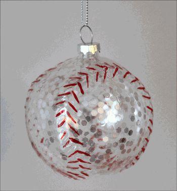 Sparkles Glass Baseball Ornament