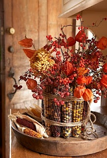 Indian Corn VaseFall Floral, Fall Decor, Indian Corn, Autumn, Tables Centerpieces, Thanksgiving Centerpieces, Fall Flower, Thanksgiving Tables, Rubber Band