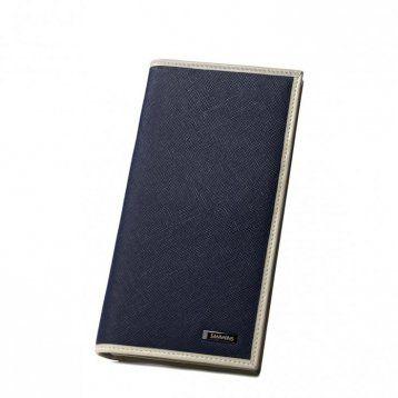 Długi skórzany portfel męski Niebieski