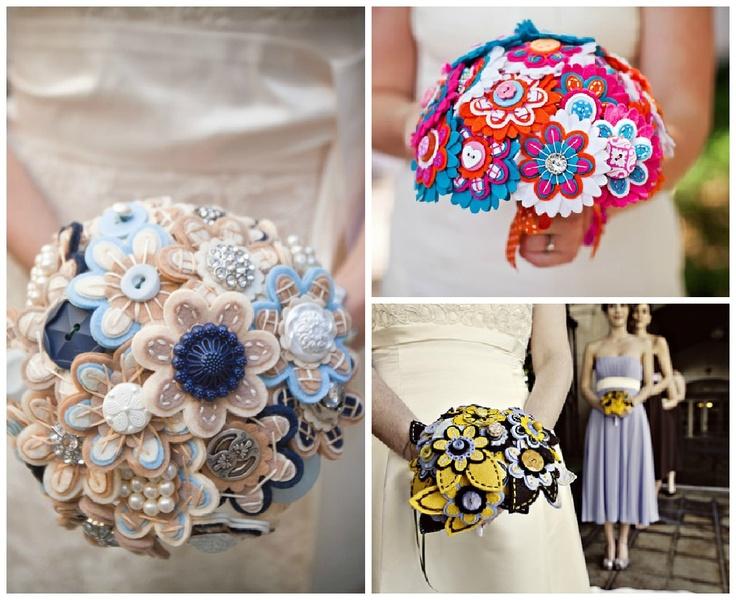 Bukiety ślubne z materiału są trwałe, kolorowe i lekkie. Zobacz, jak piękne bukiety ślubne można wyczarować z filcu!