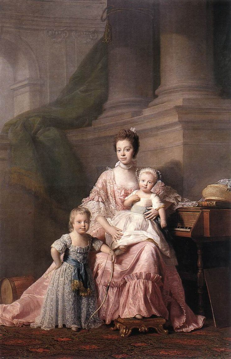 1765ca. Queen Charlotte with her two children by Allan Ramsay (Royal Collection) Mixed Race Queen!~