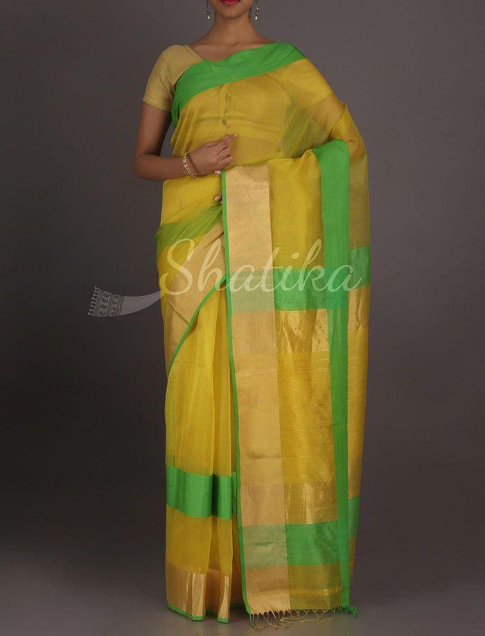 Liya Luscious Yellow Green With Bold Gold Border #Maheshwari #SilkCottonSaree