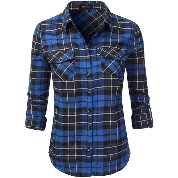 Doublju Hoodie Flannel Plaid Button Down Shirt With Pockets (Plus size... ($16) ❤ liked on Polyvore featuring tops, button up shirts, blue plaid shirt, women's plus size tops, plaid button down shirt and plaid shirts