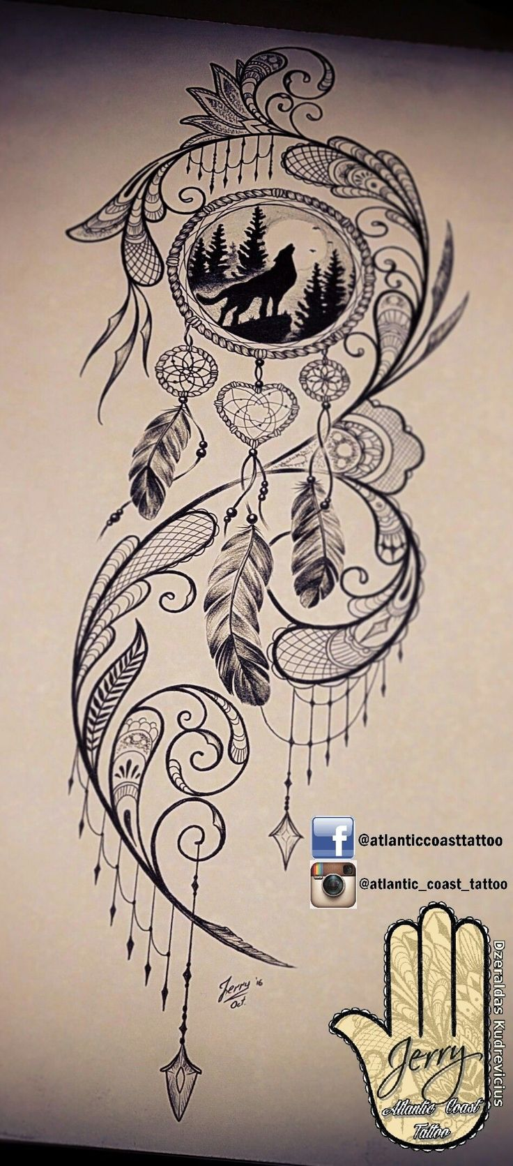 Beautiful tattoo idea design for a thigh, dream catcher tattoo, wolf tattoo ideas. By dzeraldas jerry kudrevicius from Atlantic Coast tattoo. Pretty detail mandala style, lace tattoo design #WolfTattooIdeas