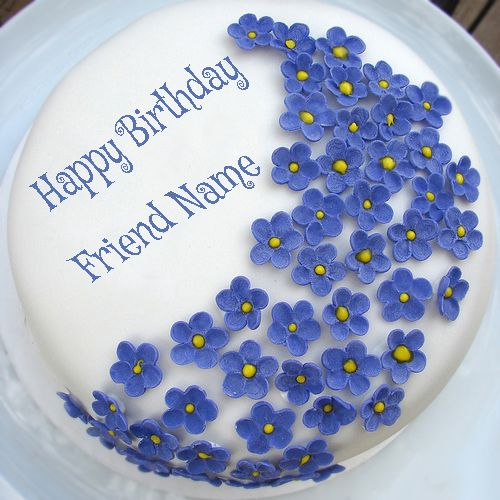 Write Your Friend Name On Violet Flowers Birthday Cake