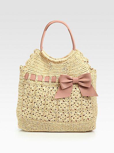 love the ribbon look with crochet.  RED Valentino - Crochet Raffia Tote - Saks.com