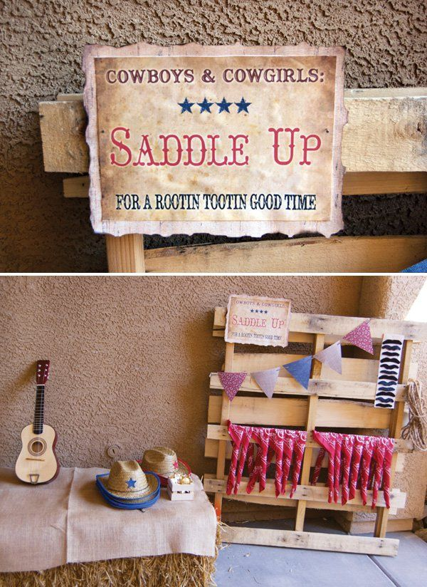 saddle up western printables and party favor table