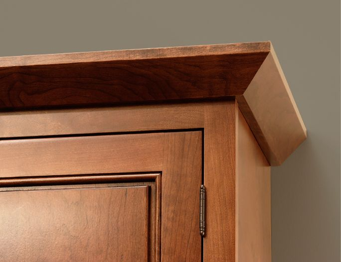 CliqStudios' Angle Crown Molding is typically used with our mission or shaker kitchen cabinet door styles, but also provides a clean contemporary feel for any cabinet style. View CliqStudios' Crown Molding options here: http://www.cliqstudios.com/cabinet-crown-molding