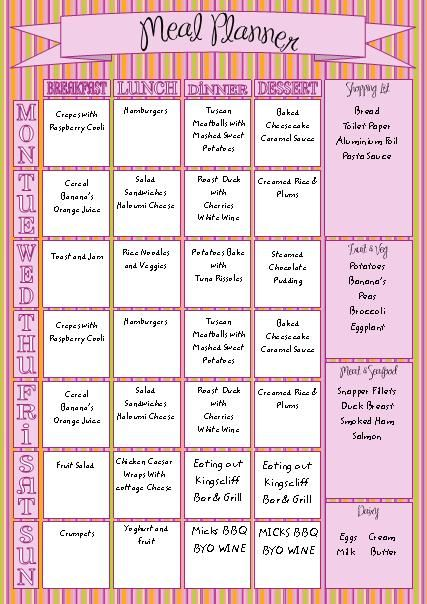 family meal planner organiser with shopping list