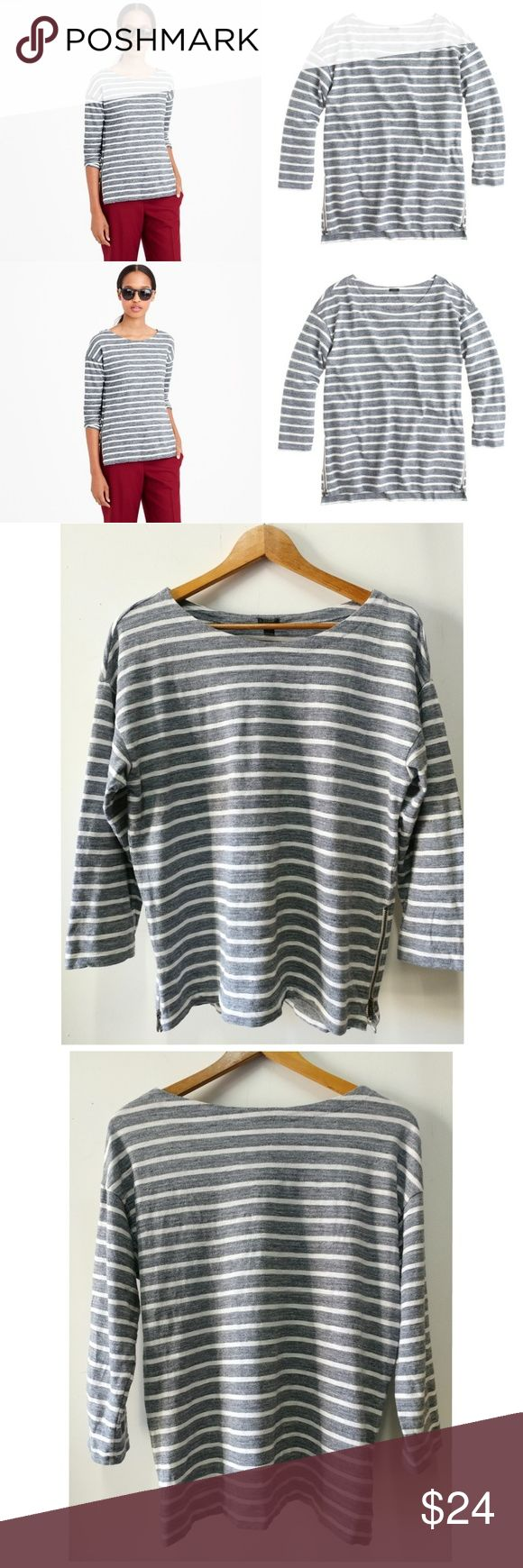 "J Crew T Shirt Side Zip Stripe T-Shirt B1468 J Crew Side Zip Stripe T-Shirt B1468 Size Medium Approximate Measurements Chest 40"" Length 26"" J. Crew Tops Blouses"