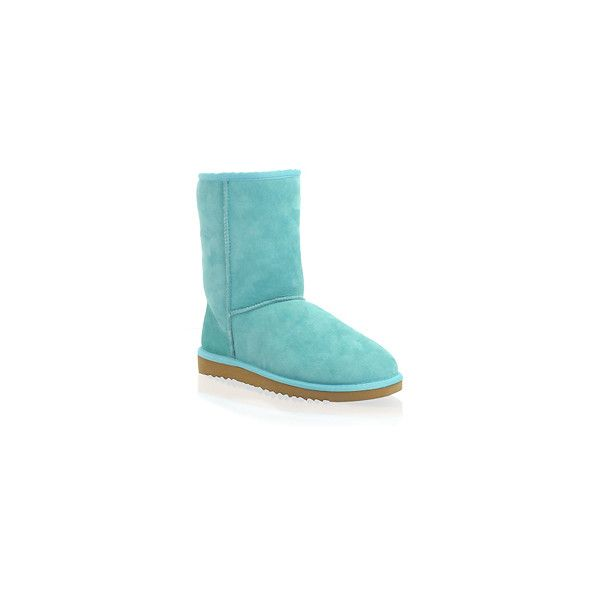 Sienna Miller | Ugg Classic Short Boots at ASOS ($235) ❤ liked on Polyvore featuring shoes, boots, ankle booties, uggs, blue, ankle boots, blue ankle booties, short boots, ankle bootie boots and bootie boots
