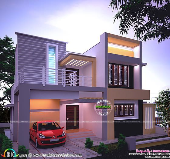 High Quality Beautiful Night View Of 1538 Square Feet, 2 Bedroom, Modern House Plan By  Dream Homes, Tamilnadu, India.