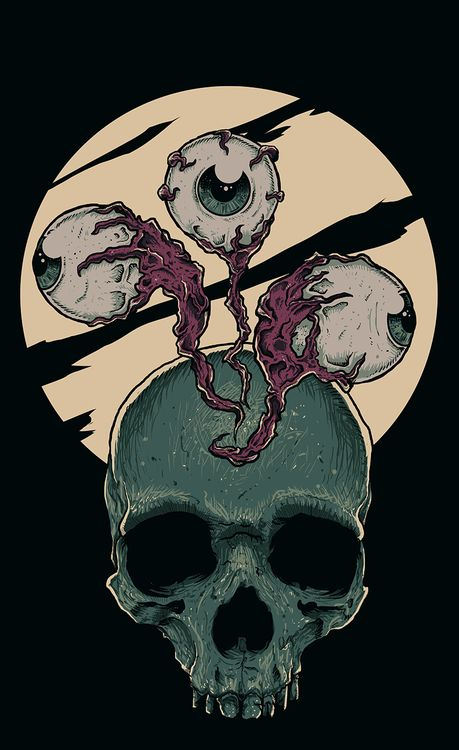 Skull, moon and eyeballs