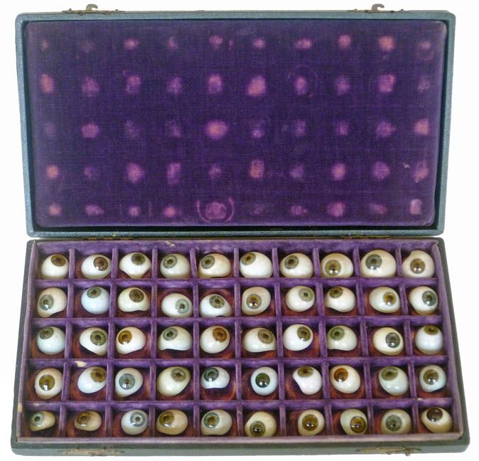 A boxed-set of 50, circa1880, antique prosthetic glass eyes