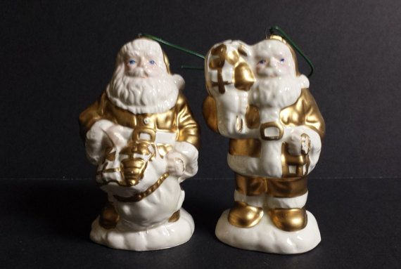 2 Victorian Santa Ornaments gold ivory ceramic Santa by RayMels