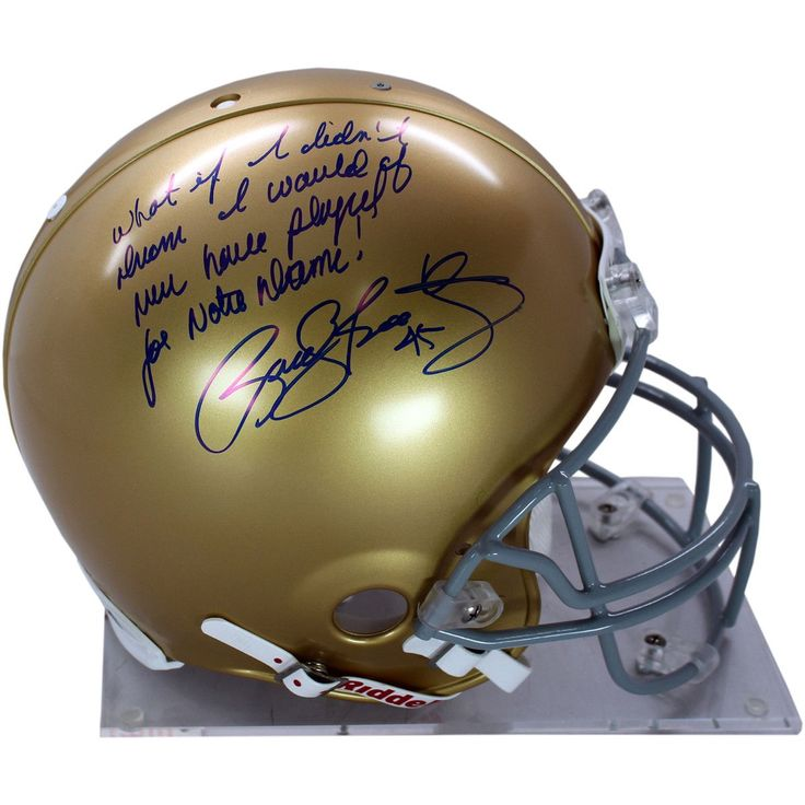 Rudy Ruettiger Signed Authentic Notre Dame Full Size Helmet w What If I Didnt Dream I would Have Never Played For Notre Dame ins - Rudy Ruettiger personally hand-signed this Notre Dame authentic full-size helmet and inscribed it What If I Didnt Dream I Would Have Never Played For Notre Dame. An undersized kid with over-sized dreams Rudy repeatedly was told he was too small to play football. While at Notre Dame Ruettiger was part of the scout team and on the last play of the final game of his…