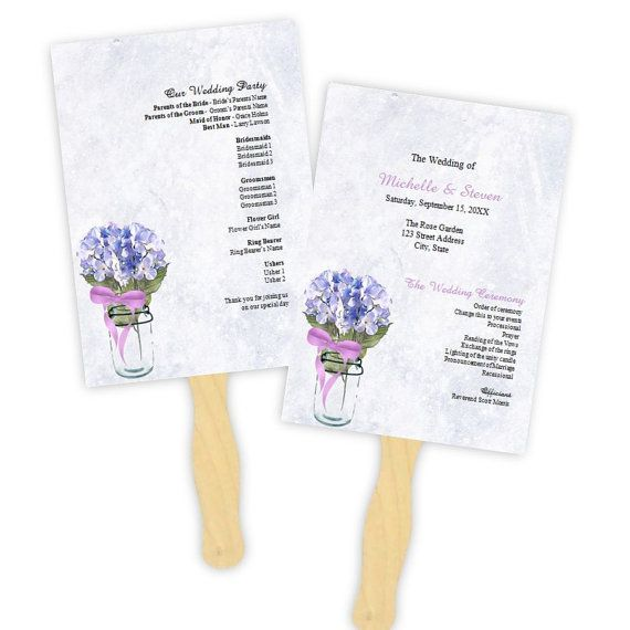 Country Wedding Program Fan Template  Blue Hydrangeas by AJsPrints, $8.00