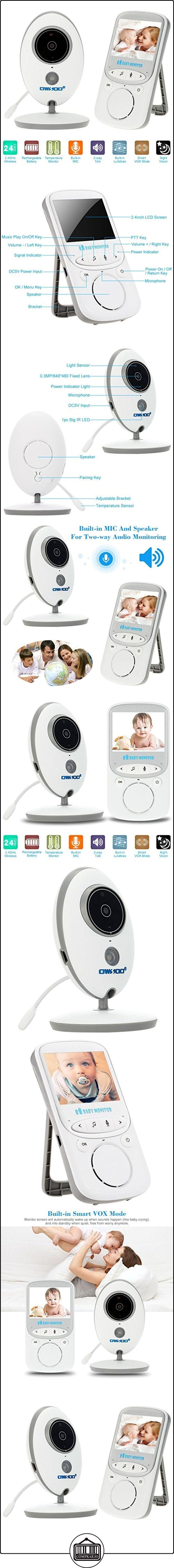 """OWSOO Vigilabebes 2.4"""" Monitor bebé IR Cámara de Vigilancia 2 Vias de Audio, Visión Nocturna VOX Modo Incorporado Lullabies Batería Recargable Seguridad CCTV Vigilancia Hogar  ✿ Vigilabebés - Seguridad ✿ ▬► Ver oferta: http://comprar.io/goto/B06XGVHYX3"""
