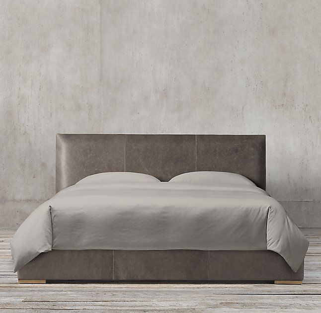 Lawson Panel Non-tufted Leather Platform Bed