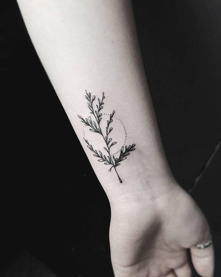 Herb tattoo on the wrist @stellatxttoo stellatxttoo