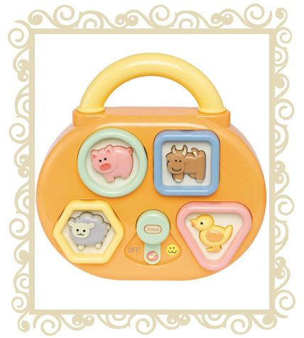 http://www.buttonbaby.com.au/tolo-baby-animal-musical-shape-sorter-p-1403.html - Tolo baby Animal Musical Shape Sorter.  Quack! Oink! Moo! Baaa! As well as playing 4 different melodies, Baby is rewarded with their favourite animal sounds when they correctly place the rattling shapes! Gift boxed in the signature Tolo Baby packaging, this double-sided toy comes with an attachment strap so it may be hung in Baby�s cot for hours of enjoyment.  20cm x 6.3cm x 20cm (L/W/H). 12months