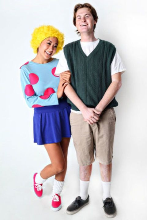 One of the most famous almost-but-not-quite couples of the '90s, this cute cartoon duo warmed the hearts of kids and adults alike. The best part of these costumes is how comfy they are — and totally simple to assemble. See more at She Knows » What you'll need: yellow wig ($14, amazon.com), blue miniskirt ($9 and up, amazon.com), green sweater vest ($10 and up, amazon.com)
