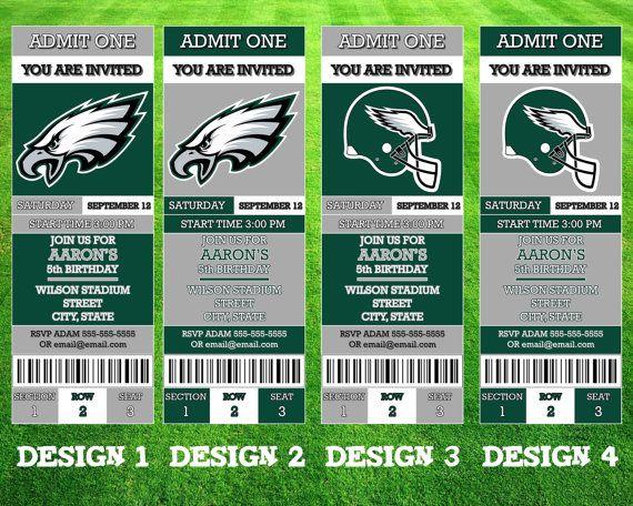Philadelphia Eagles Ticket Invitation by AWilsonDesigns on Etsy