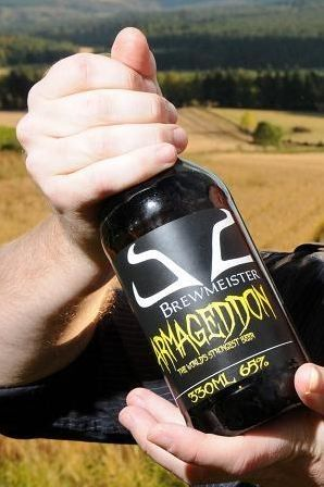 Brewmeister Armageddon - the world's strongest beer. 65% percent alcohol.  That's 130 proof!